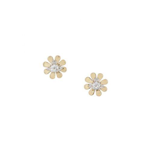 Yellow Gold Daisy Flower Stud Earrings Stanley Hunt Jewellers - 62010257-02R359-CN