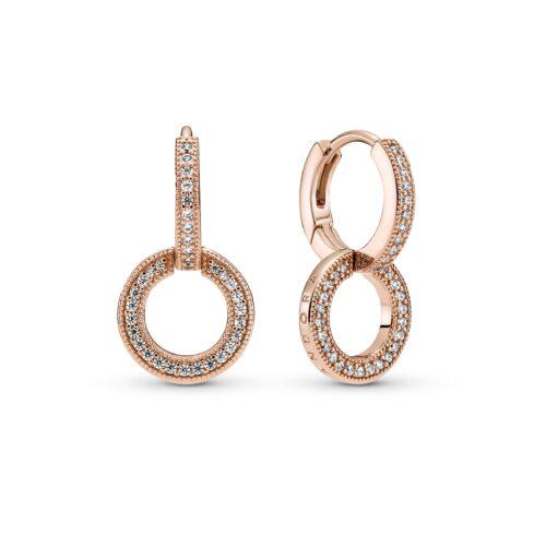 PANDORA SIGNATURE Sparkling Double Hoop Earrings - 289052C01