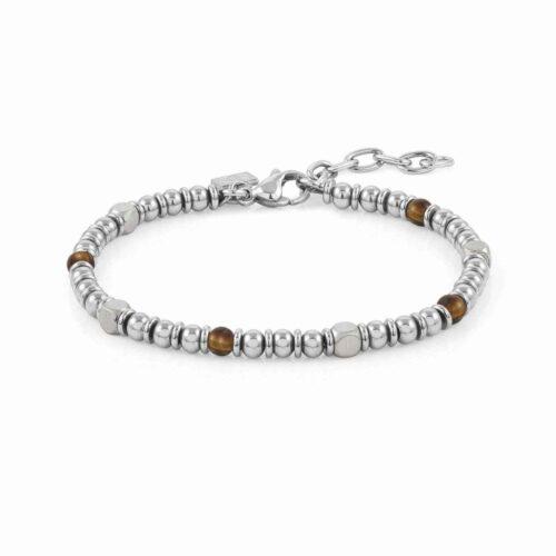 Instinct Stainless Steel with Tiger Eye Stones Bracelet
