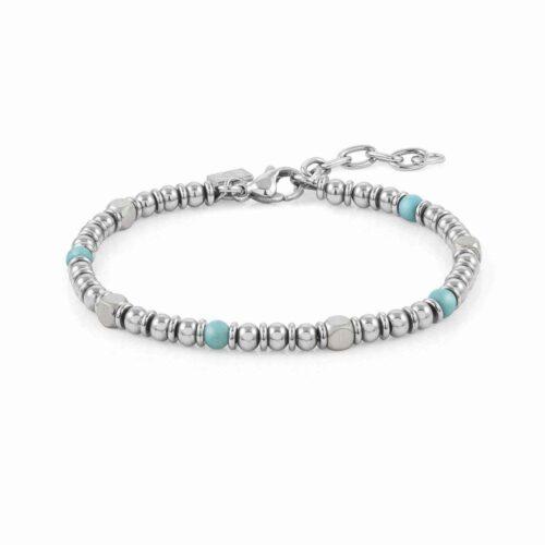 Instinct Stainless Steel & Turquoise Stones Bracelet