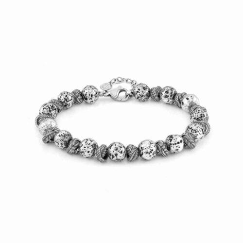 Instinct Vulcano Antiqued Stainless Steel Intertwined Rings & Lava Bracelet