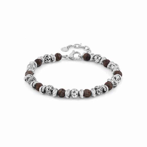 Instinct Vulcano Antiqued Stainless Steel Rings, Moss Agate Stones & Lava Bracelet