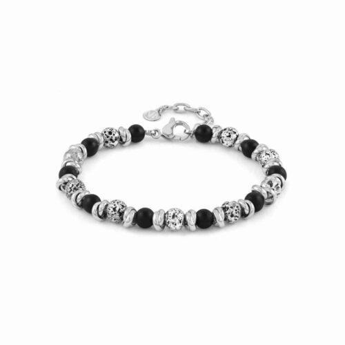 Instinct Vulcano Antiqued Stainless Steel Rings, Opaque Onyx Stones & Lava Bracelet