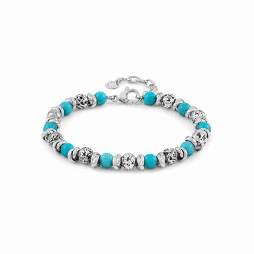 Instinct Vulcano Antiqued Stainless Steel Rings, Turquoise Howlite Stones & Lava Bracelet