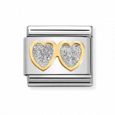 Classic Glitter Symbols 'Double Heart' Charm Stanley Hunt Jewellers - 030220/01