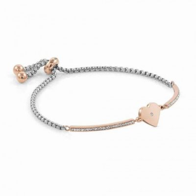 Milleluci Rose Gold Finish Pavé Heart Toggle Half Bangle Stanley Hunt Jewellers 028005/022