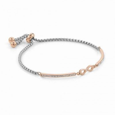 Milleluci Rose Gold Finish Pavé Infinity Toggle Half Bangle Stanley Hunt Jewellers 028005/024