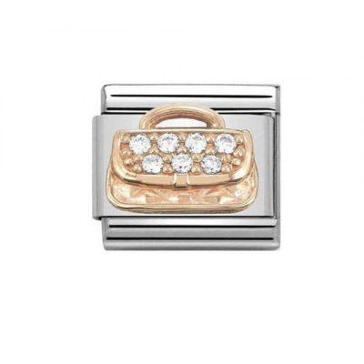 Rose Gold Handbag With Zirconia Charm Stanley Hunt Jewellers - 430302/31
