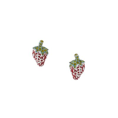 Silver Strawberry Earrings Leonela Earrings - 62010274-02W348-CN