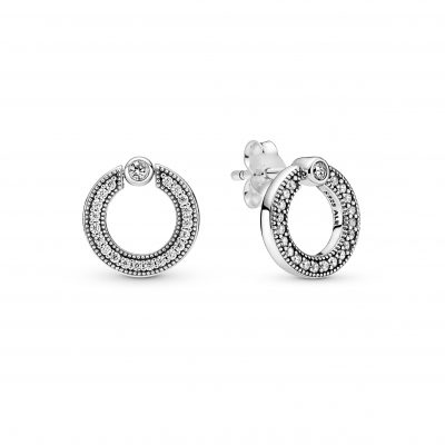 PANDORA SIGNATURE Pave & Logo Circle Reversible Stud Earrings - 299486C01