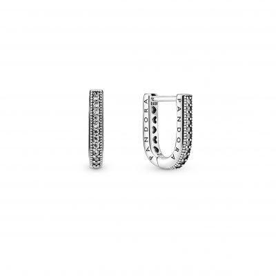 PANDORA SIGNATURE U-Shaped Reversible Hoop Earrings - 299488C01