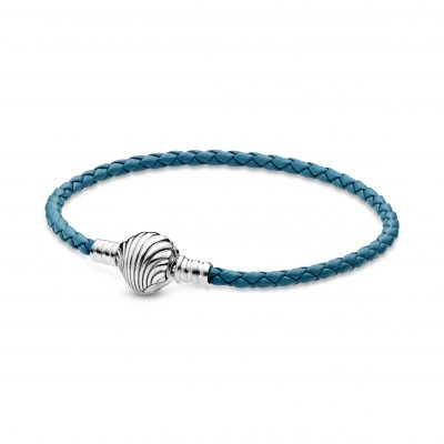 Seashell Clasp Turquoise Braided Leather Bracelet - 598951C01
