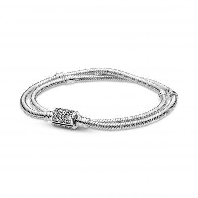 PANDORA MOMENTS Double Wrap Barrel Clasp Snake Chain Charm Bracelet - 599544C01