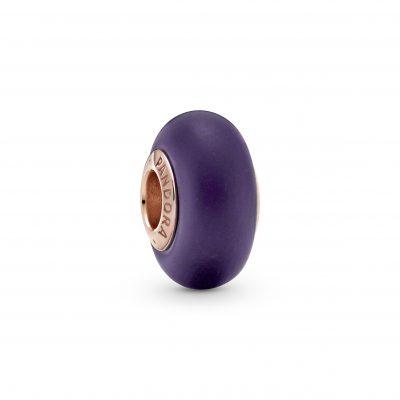 Matte Purple Murano Glass Charm - 789547C00