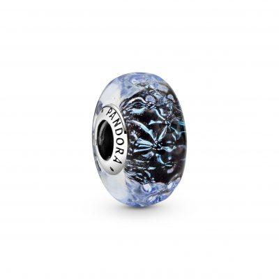 Wavy Dark Blue Murano Glass Ocean Charm - 798938C00