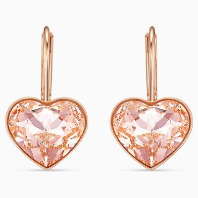 bella-heart-pierced-earrings--pink--rose-gold-tone-plated-swarovski-5515192