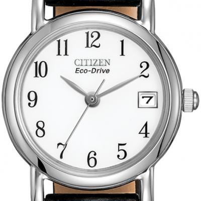 Women's Date Black Leather Strap Watch - EW1270-06A
