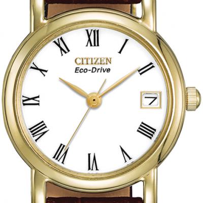 Women's Eco-Drive Brown Leather Strap Watch - EW1272-01B