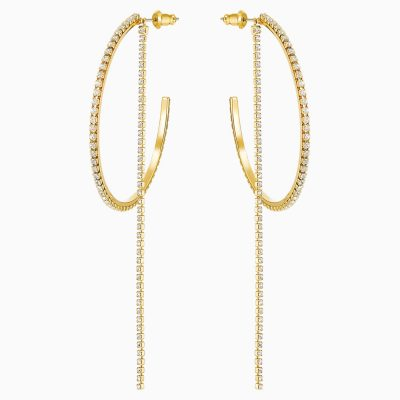 fit-hoop-pierced-earrings--white--gold-tone-plated-swarovski-5504573