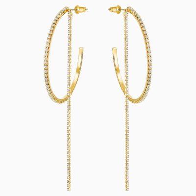 fit-hoop-pierced-earrings--white--gold-tone-plated-swarovski-5504573