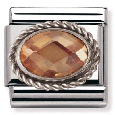 Silvershine Ornate Settings Oval Champagne Charm Stanley Hunt Jewellers - 330604/024