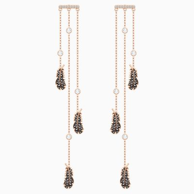 naughty-chandelier-pierced-earrings--black--rose-gold-tone-plated-swarovski-5497873