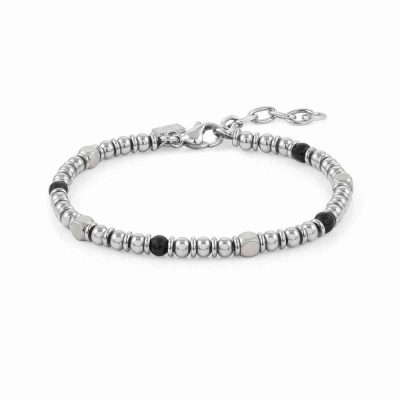 Instinct Stainless Steel & Stones Opaque Onyx Bracelet