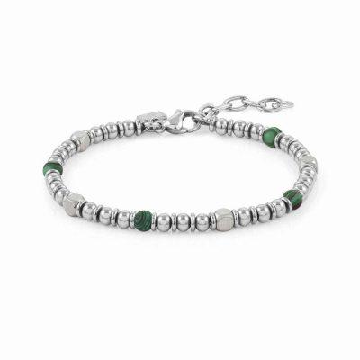 Instinct Stainless Steel & Green Malachite Stones Bracelet