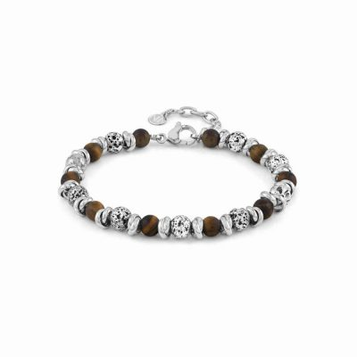 Instinct Volcano Bracelet in Steel with Lava Beads and Tiger Eye
