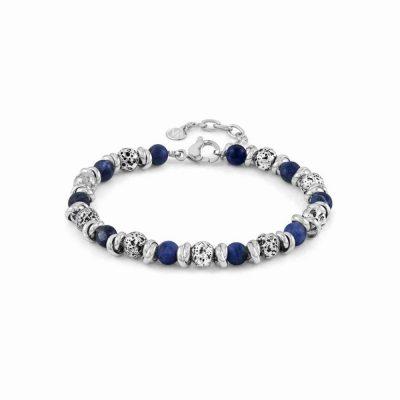 Instinct Vulcano Antiqued Stainless Steel Rings, Blue Sodalite Stones & Lava Bracelet