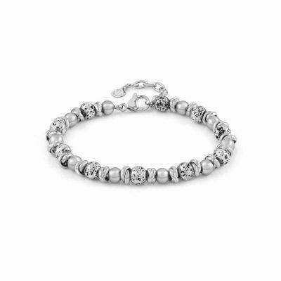 Instinct Vulano Antiqued Stainless Steel Rings, White Howlite Stones & Lava Bracelet