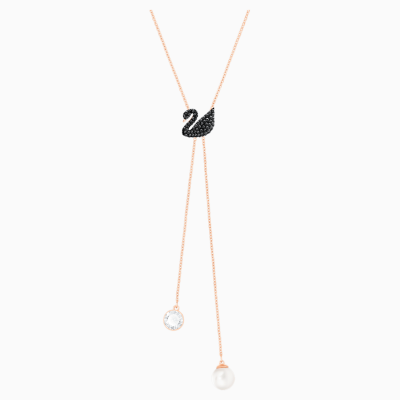 swarovski-iconic-swan-y-necklace--black--rose-gold-tone-plated-swarovski-5351806