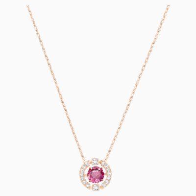 swarovski-sparkling-dance-round-necklace--red--rose-gold-tone-plated-swarovski-5279421