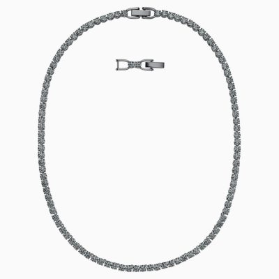 tennis-deluxe-necklace--black--ruthenium-plated-swarovski-5517113