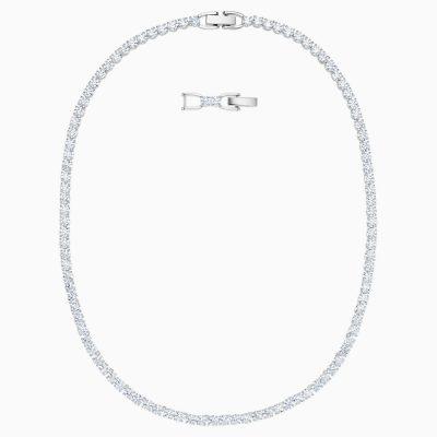 tennis-deluxe-necklace--white--rhodium-plated-swarovski-5494605