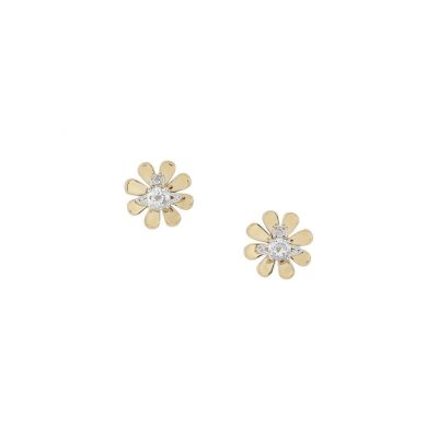 Yellow Gold Daisy Flower Stud Earrings Stanley Hunt Jewellers - 62010257-02R359-CN